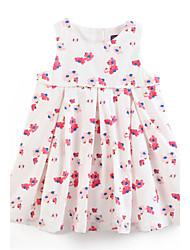 abordables -Robe Fille Coton Eté Sans Manches Fleur Blanc