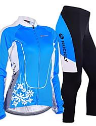 baratos -Nuckily Homens / Mulheres Manga Longa Calça com Camisa para Ciclismo - Azul Geométrico / Floral / Botânico Moto Conjuntos de Roupas, Térmico / Quente, A Prova de Vento, Design Anatômico Poliéster