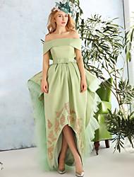 A-Line Bateau Neck Asymmetrical Lace Satin Tulle Cocktail Party Dress with Lace by QZ