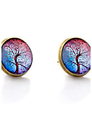 cheap -Lureme® Vintage Jewelry Time Gem Series Colorful Tree of Life Antique Bronze Disc Stud Earrings for Women and Girls