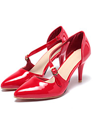 cheap -Women's Shoes Patent Leather Summer Fall Comfort Ankle Strap Sandals Walking Shoes Stiletto Heel Pointed Toe Buckle for Wedding Office &