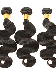 "cheap -3Pcs/Lot 150g 8""-26"" Unprocessed Brazilian Virgin Hair Natural Black Color Body Wave Human Hair Weave"