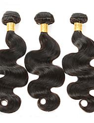Недорогие -Натуральные волосы Перуанские волосы Человека ткет Волосы Волнистые Наращивание волос 3 предмета Естественный цвет