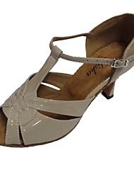 Damen Latin PU Sandalen Innen Maßgefertigter Absatz Gold Schwarz Silber Beige Bronze