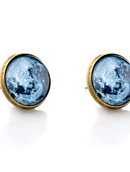 Lureme® Vintage Jewelry Time Gem Series Earth Disc Antique Bronze Stud Earrings for Women and Girls