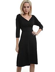 Robe Aux femmes Grandes Tailles Soirée / Travail , Couleur Pleine Col Arrondi Au dessus du genou Polyester