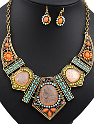cheap -Women's Jewelry Set Statement Necklaces Dangle Earrings Turquoise Vintage Party Colorful European Festival/Holiday Wedding Party Special