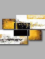 cheap -Oil Painting Hand Painted - Abstract Modern Canvas Four Panels