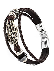 cheap -Leather Bracelet - Leather Bracelet Black / Brown For Christmas Gifts / Wedding / Daily