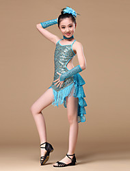 cheap -Latin Dance Outfits Children's Performance Polyester Sequined Sequin Draping Dress Gloves Neckwear Headwear