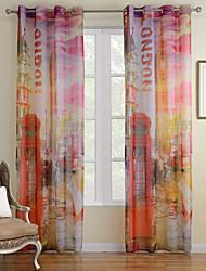 zwei Panele Modern Archtektur Multi-color Wohnzimmer Polyester Gardinen Shades