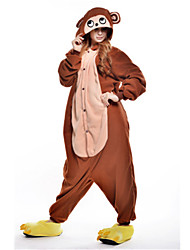 cheap -Kigurumi Pajamas Monkey Onesie Pajamas Costume Polar Fleece Brown Cosplay For Adults' Animal Sleepwear Cartoon Halloween Festival /