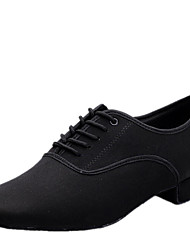 "cheap -Men's Modern Silk Canvas Heel Indoor Lace-up Low Heel Black 1"" - 1 3/4"" Non Customizable"
