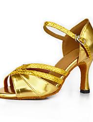 cheap -Women's Latin Shoes Synthetic Microfiber PU Heel Buckle High Heel Customizable Dance Shoes Gold / Bronze / Indoor