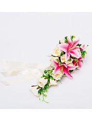 "Wedding Flowers Cascade Roses Lilies Bouquets Wedding Party/ Evening Satin 19.7""(Approx.50cm)"