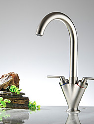 Widespread Two Handles One Hole with Nickel Polished Kitchen faucet