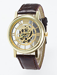 Casual  Men's Skeleton Wrist Watch Quartz Watches Of Gold Dial Black And Coffee color Pu Band Imitation Mechanical Watch