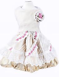 abordables -Chien Robe Vêtements pour Chien Fleur Or Matériel mixte Costume Pour les animaux domestiques Femme Anniversaire Mode Mariage