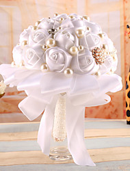 Crystal Pearls Silk Flowers Handmade Rose Wedding Flower Bridal Bouquet Brooch