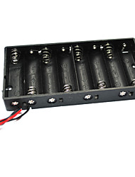 8 X Aa Batteries Holder Case Box With Leads - Black(Total 12V)