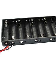 economico -8 x batterie aa scatola porta batterie con cavi - nero (totale 12v)