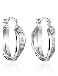 Brincos Curtos Brincos com Clipe Moda Clássico Europeu Cobre Prata Chapeada Prata Jóias Para Casamento Festa Diário Casual 1 par