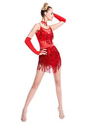 abordables -vamos a los vestidos de baile latino de las mujeres de rendimiento de lentejuelas de fibra de leche borla (s) 1 pieza de manga larga vestido natural