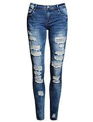 Women's Mid Rise Micro-elastic Jeans Pants,Street chic Slim Ripped Solid