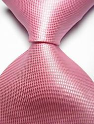 abordables -la fiesta de los hombres / la corbata tejida jacquard a cuadros rosa por la noche