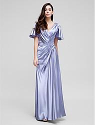 Tubinho Decote V Cauda Corte Cetim Elástico Evento Formal Vestido com Drapeado Lateral Cruzado de TS Couture®