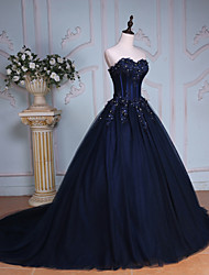 cheap -Ball Gown Princess Sweetheart Chapel Train Tulle Over Lace Formal Evening Dress with Beading Sequin Crystal Detailing Embroidery Lace by