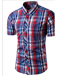 cheap -Brand Fashion Men's Short Sleeve Plaid shirts Slim Dress shirt,Cotton / Polyester Casual / Work Striped / Plaids