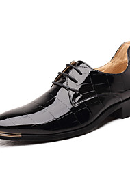 cheap -Men's Shoes Patent Leather Spring Fall Formal Shoes Comfort Oxfords Metallic Toe Plaid Lace-up for Wedding Office & Career Party & Evening
