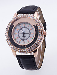 cheap -Women's Fashion Watch Wrist watch Pave Watch Floating Crystal Watch Sport Watch Dress Watch Quartz Large Dial Genuine Leather Band Charm