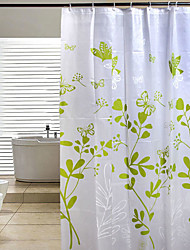 cheap -200 * 180 Butterfly Leaves Green PEVA Shower Curtain