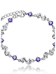 cheap -Women's Sterling Silver Infinity Chain Bracelet - Infinity White Purple Bracelet For Wedding Party Daily