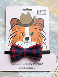 abordables -Chat Chien Colliers Cosplay Tartan Textile Blanc Rouge