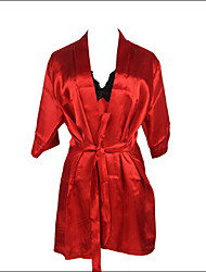 cheap -Burvogue Women's Sexy Lace Intimate Lingerie Sleepwear Satin Charmeuse Robe