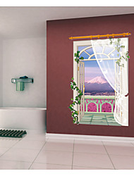 cheap -SK9022B Removable Ocean Of Flowers Lavender 3D Window View Scenery Wall Sticker Decor room Decals Wall Art Sticker