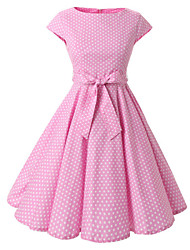 cheap -Women's Going out Vintage A Line Knee-length Dress,Polka Dot Bow Boat Neck Short Sleeves