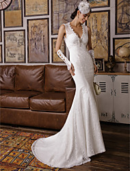 cheap -Mermaid / Trumpet V Neck Sweep / Brush Train All Over Floral Lace Custom Wedding Dresses with Beading Appliques by LAN TING BRIDE®