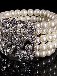 cheap -Women's Rhinestone Imitation Pearl Chain Strand Round Bangles Imitation Pearl Alloy Jewelry Wedding Party Special Occasion Birthday