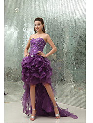 Недорогие -С пышной юбкой Сердцевидный вырез Асимметричное Органза Коктейльная вечеринка Платье с Бусины Оборки от XFLS