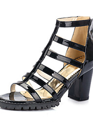 cheap -Women's Shoes Patent Leather Chunky Heel Platform / Open Toe Sandals Party & Evening / Dress / Casual Black / White