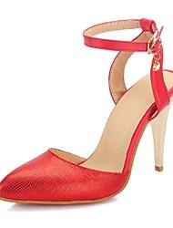 baratos -Feminino Sapatos Gliter Courino Primavera Verão Salto Agulha Para Casamento Social Festas & Noite Preto Vermelho Dourado