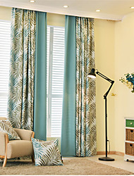 Rod Pocket Grommet Top Tab Top Double Pleated Two Panels Curtain Mediterranean European Country Modern Neoclassical , Novelty Cartoon