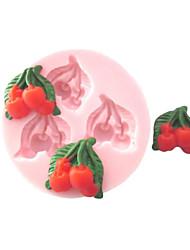 Недорогие -Три отверстия Черри фруктов Силиконовые Mold Фондант Пресс-формы Сахар Ремесло Инструменты Шоколад Плесень на торты