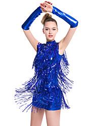 Latin Dance Dresses Women's Performance Milk Fiber Tassel(s) 1 Piece Sleeveless Natural Dress