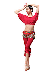 cheap -Belly Dance Outfits Women's Training Modal Ruffles Gold Coins 3 Pieces Short Sleeve Dropped Top Pants Belt