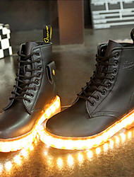 cheap -7 Colors Luminous Shoes Men Women Unisex Couple Lace-Up Toe Boot Martin boots Fashion Casual Flat Led Shoes Usb Charging